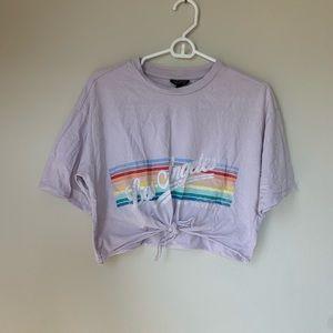Topshop purple rainbow crop T-shirt s us4